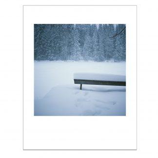 Lumeen hautautunut penkki järven rannalla.