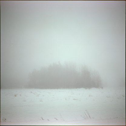 Puska, valokuvavedos suomalaisesta sumuisesta maaseudusta.